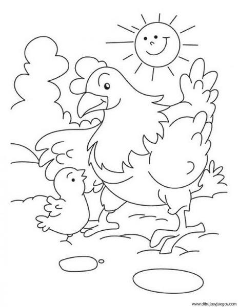 dibujo-de-gallina-012 | Dibujos y juegos, para pintar y colorear