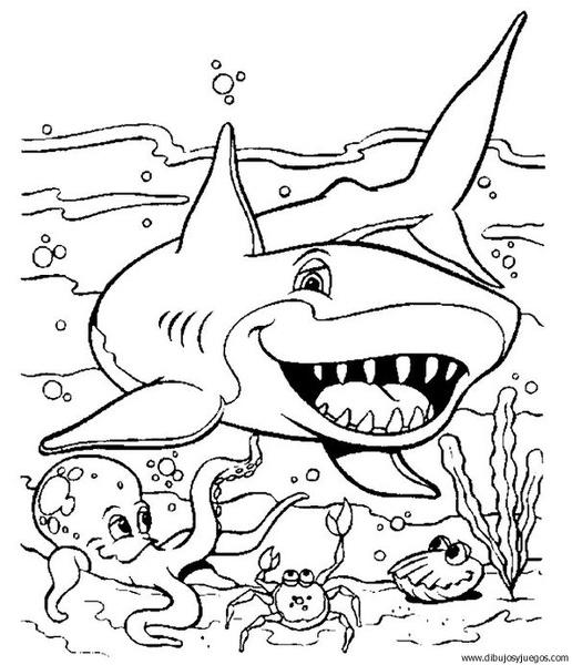 Dibujo De Tiburon 011 Dibujos Y Juegos Para Pintar Y Colorear