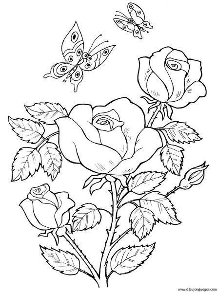 dibujo-flores-rosas-025 | Dibujos y juegos, para pintar y colorear