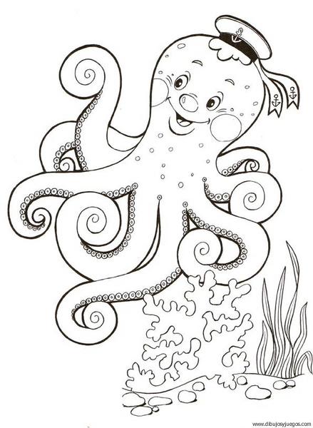 dibujo-de-pulpo-012 | Dibujos y juegos, para pintar y colorear
