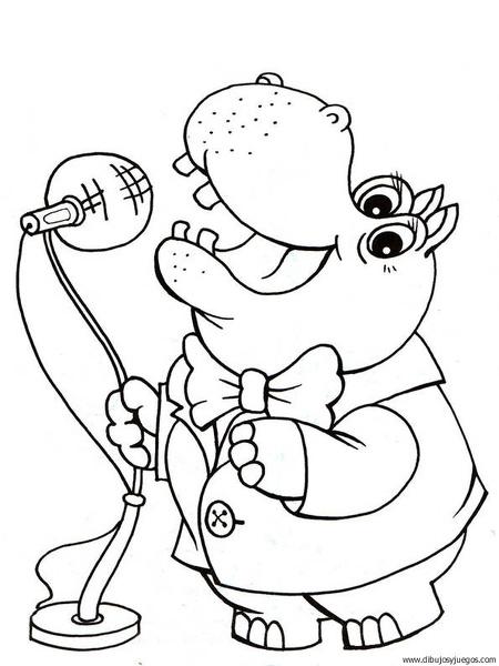 dibujo-de-hipopotamo-025 | Dibujos y juegos, para pintar y colorear